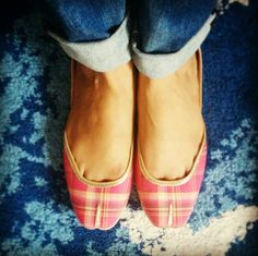 Checks... Always in vogue..  Get your pair of check pattern ethnic footwear on www.vianlabel.com Designer footwear from the house of vian