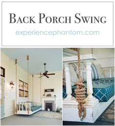 DIY Back porch swing made from old door. Looks perfect on this Southern screened in porch! Home improvement is easier with repurposed furniture. Screened In Porch, Porch Swing, Outdoor Rooms, Outdoor Living, Porch Nook, Huge Bed, Home Repair, Repurposed Furniture, Home Improvement Projects