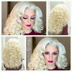 Unearth brand new hair care tips and hints. Full Hair, Big Hair, Retro Hairstyles, Curled Hairstyles, Bright Blonde, Big Curls, Types Of Curls, Pin Up Hair, Platinum Blonde Hair
