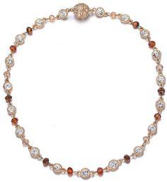 Lyric: Gold / Dark Topaz & Crystals Necklace With Magna Clasp