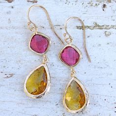 Sienna Pink & Canary Yellow Earrings