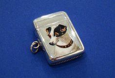 Victorian Silver & Enamel 'Dog's Head' Vesta Case/Match Safe, Made by Lawrence Emanuel, Birmingham 1886 - Daniel Bexfield Antiques - Fine Antique Silver & Objects of Vertu