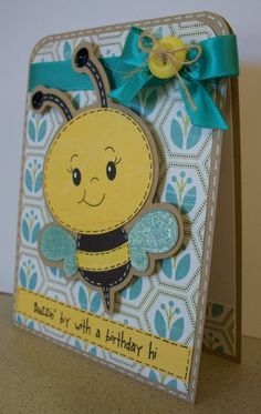 ☺ Here are my cards for the hop! For my first card, I used the create a critter cartridge for my cute bee. Her adorable. Homemade Birthday Cards, Kids Birthday Cards, Homemade Cards, Wife Birthday, Birthday Bash, Birthday Sayings, Birthday Crafts, Birthday Images, Birthday Greetings