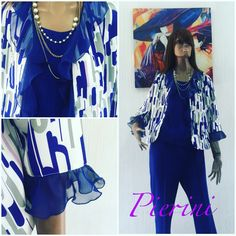 Three piece suit: jacket has a multicolor print and electric blue ruffles, combined with electirc blue top and trousers #ss2016 #chic #dress #design #estilo #fashion #fashionista #fashionstyle #fashionable #fashionlover #girl #girly #instafashion #like #moda #modafeminina #picoftheday #style #trendy #womensfashion #womenswear #womenstyle #mujer #popularpic #women #pierinistyle #pieriniboutique