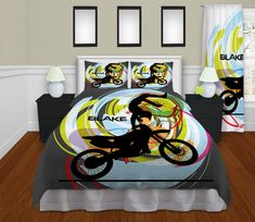 Dirt Bike Motocross Bedding, comes in Gray or White! Comforter or Duvet Cover.