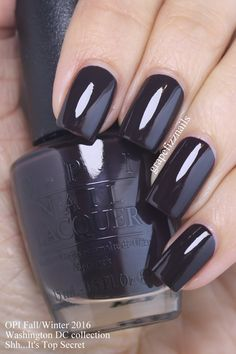 OPI Shh...It's Top Secret! is a deep brown that looks almost black. I love this classy shade!