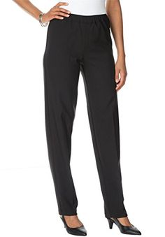 e88c77ab07b6d Roamans Womens Plus Size Tall Bend Over Super Stretch PullOn Pants Black26  ** You can get additional details at the image link.