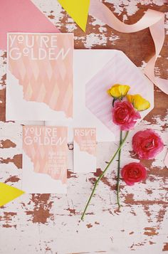Pink yellow wedding invitations