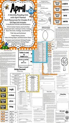 April / Spring-Themed Reading ELA Unit for grades 3-6. This huge packet has 67 pages of ELA goodness, with plenty of nonfiction informational passages, worksheets, poetry, folktale, center games and activities, and writing resources to get you through the month of April with ease and lots of fun!  Also covers synonyms/antonyms, analogies, figurative language, and more! Looking forward to using this with my students!