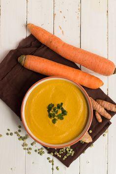 recette soupe pois cassés carottes, lait de coco, gingembre et curcuma