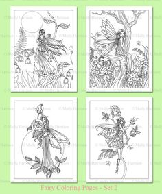 PRINTABLE Flower Fairies Coloring Pages set 2 - 4 Flower Fairy Illustrations - Adult Coloring Pages - Molly Harrison Fairy, Faery,