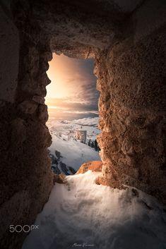 Snowy Rocca Calascio, mountain fortress in Abruzzo, Italy