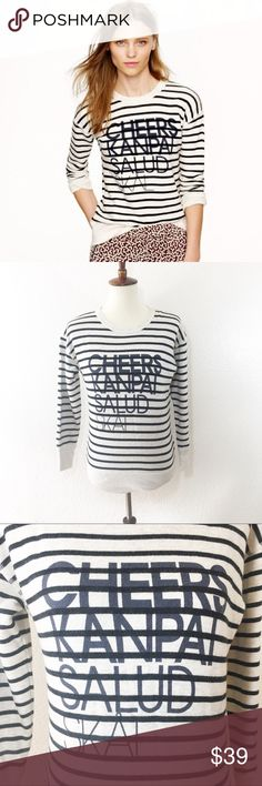 """J. CREW Cheers sweater size XS Details: cheers pullover from J. Crew  Size: XS Material: in photos  Condition: GUC, Normal wash wear  Measurements are taken flat! Chest: 18"""" armpit to armpit)  Length: 23.5"""" from shoulder)  ☑️ Bundle Discounts  ☑️Fast shipping  ☑️Posh Ambassador  ✨Shop with Confidence J. Crew Sweaters Crew & Scoop Necks"""