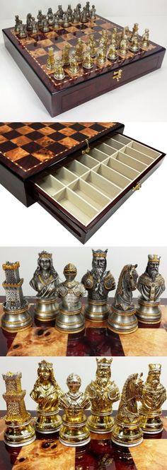 Greek Mythology OLYMPUS GODS CHESS SET Pewter Bronze Color Cherry Color Storage