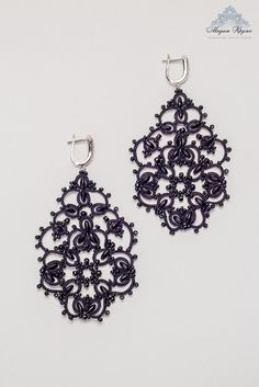 Tatting Lace earrings Angelica French lace handmade by MadamKruje