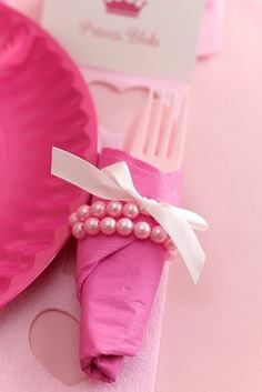 """Girls Birthday Party ~ little pearl bracelets serve as napkin rings and as a take home gift for the girls -- Squires Squires Bomar - Tea party? For future baby girls birthday. Also great for """"And the Bride Wore White"""" party Lila Party, Girls Tea Party, Tea Party Birthday, Birthday Crowns, Birthday Ideas, 4th Birthday, Royal Party, Birthday Recipes, Pink Birthday"""