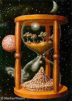 Surreal art hourglass with life & death Art Du Temps, Yuumei Art, Art Visionnaire, Art Environnemental, Environmental Art, Time Art, Surreal Art, Art Plastique, Hourglass