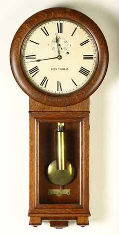 Learn more about Seth Thomas Regulator available at Cottone Auctions. Take a look now before it is too late! Old Clocks, Antique Clocks, Craftsman Clocks, Hickory Cabinets, Farmhouse Clocks, Unusual Clocks, Grandfather Clock, Wooden Watch, Alarm Clock