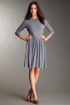 Ellen Tracy Pleated Bateau Dress