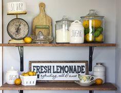 Rustic Home Decor Ideas And Tips Lemon Kitchen Decor, Rustic Kitchen, New Kitchen, Kitchen Dining, Dining Room, Kitchen Ideas, Kitchen Hutch, Summer Kitchen, Kitchen Reno