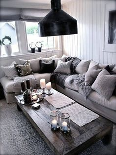 gray living room - want to add purple accents here and there along with my walnut furniture