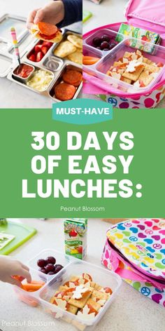30 Days of kids school lunch ideas: no repeats! Easy tricks for getting those lunch boxes filled fast, even on busy mornings. Kid-friendly, mom approved food ideas that make everyone happy. Lunch Box Recipes, Lunch Ideas, Easy Dinner Recipes, Easy Meals For Kids, Kids Meals, Kids Lunch For School, School Days, Peanut Blossoms, Easy Tricks