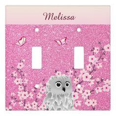 Owl Cherry Blossoms Kids Monogram Glitter Light Switch Cover - glitter glamour brilliance sparkle design idea diy elegant