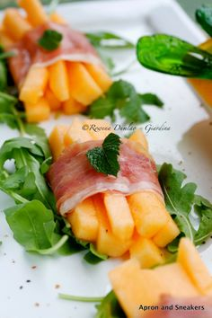 Apron and Sneakers - Cooking & Traveling in Italy and Beyond: Prosciutto-Wrapped Melon Sticks With Rucola