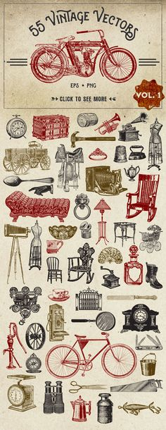 55 Vintage Vector Graphics by Eclectic Anthology on Creative Market