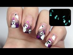 Glow in the dark ghosts [Freehand Nail Art] - YouTube