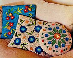 Flower Pillows Vintage Crochet Pattern Download