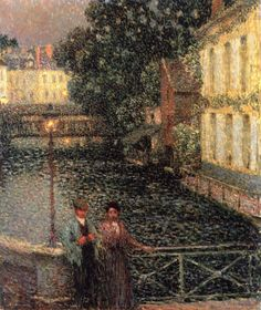 The Lovers, Gisors - Henri Le Sidaner - The Athenaeum Romantic Paintings, Paintings I Love, Beautiful Paintings, Mauritius, Maurice Denis, Post Impressionism, Henri Matisse, French Artists, Lovers Art