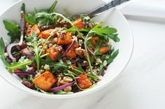 Sweet Potato Quinoa Salad with Walnuts and Raisins - Skinny Ms.