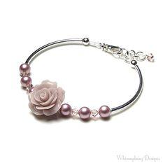 Mauve Rose Bracelet Rose Swarovski Crystal & por whimsydaisydesigns