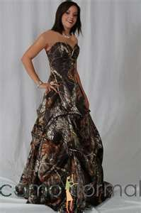 Camo wedding dress. The hideousness of the bride's dress will distract people as you run out of the redneck hell you're apparently in!