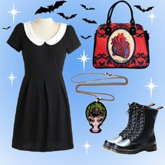 Cute and spooky outfit featuring #modcloth dress, vegan #drmartins and #jublyumph haunted house necklace and anatomical heart #vegan #handbag