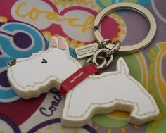 $70 - New Coach Key Ring Scottie/Westie Dog -white patent leather red collar 92324 | eBay