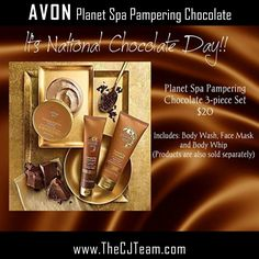 Planet Spa Pampering Chocolate 3 piece set. Avon. Relax and unwind with the indulgent aroma of this rich, creamy chocolate-scented Body Whip that leaves your senses delightfully pampered and your skin velvety smooth.Regularly $31. FREE shipping with any $40 online Avon purchase. #Avon #CJTeam #Sale #NationalChocolateDay #PamperingChocolate #Chocolate #PlanetSpa Shop Avon online @ www.thecjteam.com