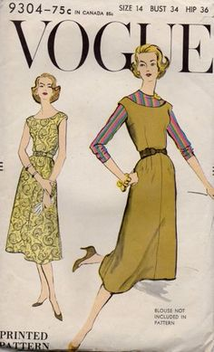 Vogue 9304 Womens Dress or Jumper & Skirt Vintage Sewing Pattern Size 14 Bust 34 inches UNCUT Factory Folded Vintage Skirt, Vintage Dresses, Vintage Outfits, Vintage Clothing, Vintage Fashion 1950s, 50s Vintage, Sunday Clothes, Jumper Patterns, Dress Patterns