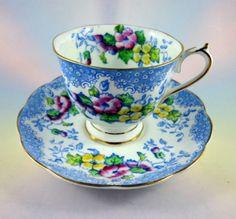 "Handpainted ""Lovelace"" Royal Albert Tea Cup and Saucer ...♥♥...  Set"