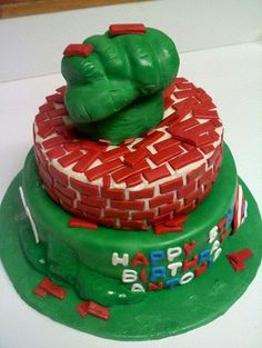 The Incredible Hulk Birthday Cake made at Rolys Bakery Rolys