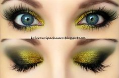 Makeup Geek: pigment Liquid Gold + eyeshadow Corrupt, mascara Maybelline Colossal Smoky eyes, Arabian kohl