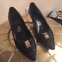 Ferragamo kitten heels black leather 7.5 B Fits more like a 7- need new heel tips, but still look great. Salvatore Ferragamo Shoes Heels