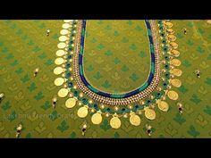 Aari/Maggam Lakshmi Kasu/Coin Work On Kids Lehenga Hand Work Blouse Design, Kids Blouse Designs, Aari Work Blouse, Simple Blouse Designs, Fancy Blouse Designs, Bridal Blouse Designs, Magam Work Designs, Magam Work Blouses, Coin Design