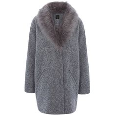 Oasis Tweed Cocoon Coat (240 BAM) ❤ liked on Polyvore featuring outerwear, coats, jackets, long sleeve coat, tweed coat, cocoon coat, fur-trimmed coat and oasis coat