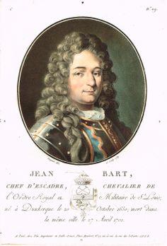 Jean Bart, Chef d'Escadre, Chevalier de l'Ordre Royal et Militaire de St Louis; né à Dunkerque le 20 Octobre 1650; mort dans la même ville le 27 Avril 1702 - peint et gravé par Sergent en 1789 - série C n°29 - MAS Estampes Anciennes - Antique Prints