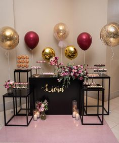 Happy Birthday Decor, Birthday Party Decorations For Adults, Girl Birthday Themes, 18th Birthday Party, Birthday Table, Balloon Decorations Party, Diy Birthday, Casino Theme Parties, Party Themes
