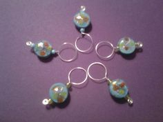 Blue Flowered Stitch Markers by PackyknitsDesign on Etsy