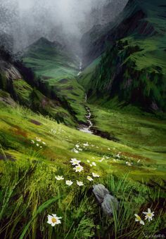 Natural landscape illustration.  I like the way the artist tackles the detail of the vegetation in the foreground, fading into an almost abstract middleground, and roughly painted background.  I always find that mixture of high and low detail really difficult to achieve.  'Valley Path,' by ... fdasuarez ? Landscape Concept, Fantasy Landscape, Landscape Art, Landscape Paintings, Nature Paintings, Illustration Manga, Landscape Illustration, Illustration Artists, Environment Concept Art