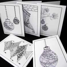 Zentangle Christmas cards on Etsy. For handmade greeting cards visit me at My… Christmas Doodles, Christmas Drawing, Christmas Gift Tags, Xmas Cards, Christmas Art, Tangle Doodle, Tangle Art, Doodles Zentangles, Zentangle Patterns